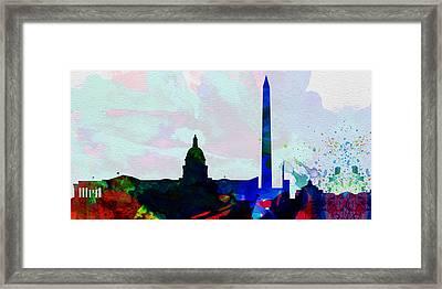 Washington Dc City Skyline 2 Framed Print by Naxart Studio