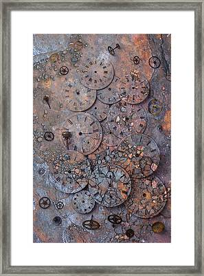 Watch Faces Decaying Framed Print by Garry Gay