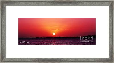 White Sun And Crimson Glow - Sunset Xmas Day. Framed Print by Geoff Childs