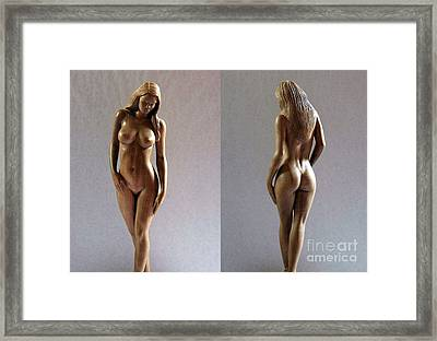 Wood Sculpture Of Naked Woman Framed Print by Carlos Baez Barrueto