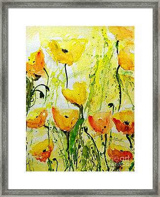 Yellow Poppy 2 - Abstract Floral Painting Framed Print by Ismeta Gruenwald