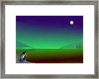 011 - Moon River Framed Print by Irmgard Schoendorf Welch