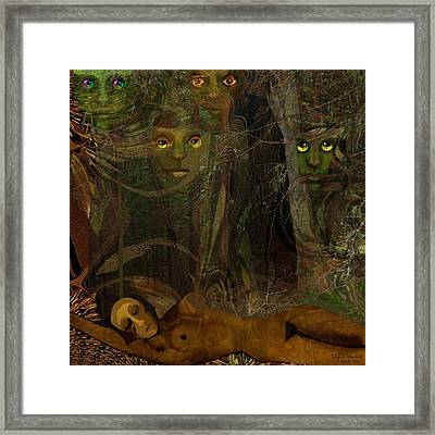 026  - Some Are Forever Sleeping In The Woods Framed Print by Irmgard Schoendorf Welch