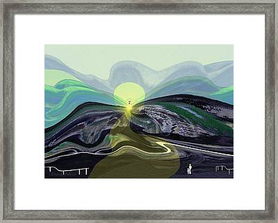 033 -  Mountain Morning With Angel   Framed Print by Irmgard Schoendorf Welch