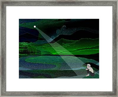 034 - Moonlight Lonelyness   Framed Print by Irmgard Schoendorf Welch