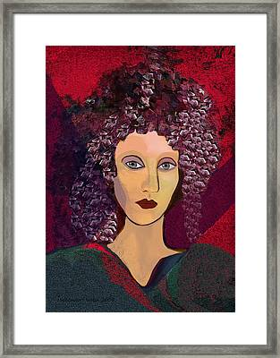 045 -  Woman With Green Dress.... Framed Print by Irmgard Schoendorf Welch