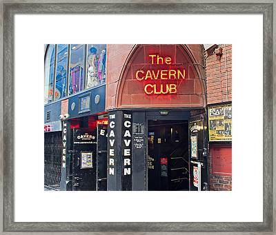 Entrance To The Cavern Club In Mathew St Liverpool Framed Print by Ken Biggs