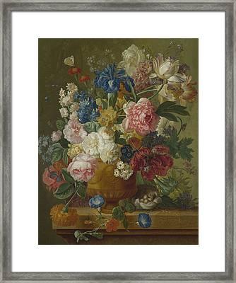 Flowers In A Vase Framed Print by Paulus Theodorus van Brussel
