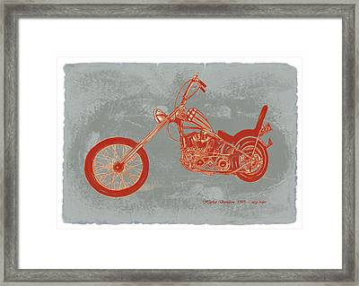 Motorcycle Art Sketch Poster Framed Print by Kim Wang