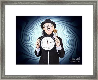 Nutty Professor With Clock. Crazy Science Time Framed Print by Jorgo Photography - Wall Art Gallery