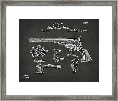 1839 Colt Fire Arm Patent Artwork - Gray Framed Print by Nikki Marie Smith