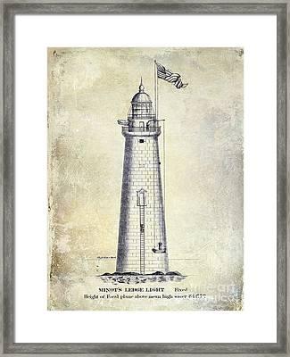 1852 Minot's Ledge Lighthouse  Framed Print by Jon Neidert
