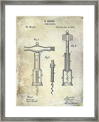 1876 Corkscrew Patent Drawing Framed Print by Jon Neidert