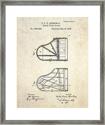 1878 Steinway Grand Piano Forte Patent Art S. 1 Framed Print by Gary Bodnar