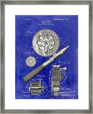 1906 Fishing Reel Patent Drawing Blue 2 Tone Framed Print by Jon Neidert