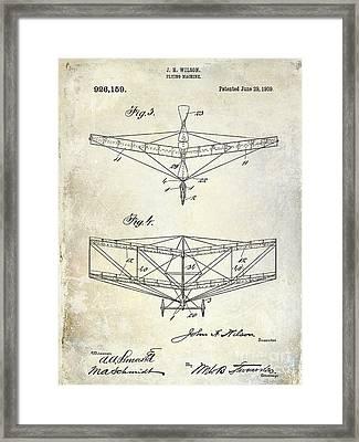 1909 Flying Machine Patent Drawing  Framed Print by Jon Neidert