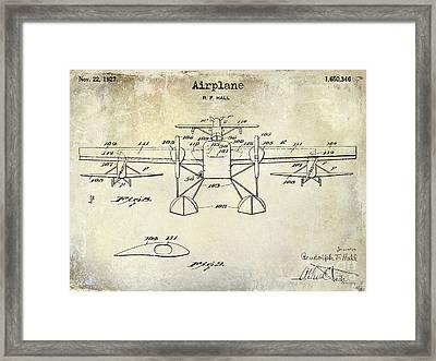1927 Airplane Patent Drawing Framed Print by Jon Neidert
