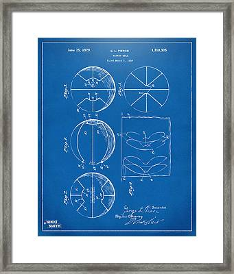 1929 Basketball Patent Artwork - Blueprint Framed Print by Nikki Marie Smith