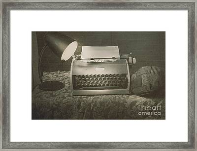 1930s Press Release On Antique Reporters Desk Framed Print by Jorgo Photography - Wall Art Gallery