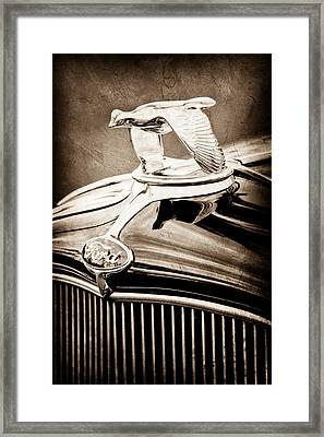 1932 Ford V8 Hood Ornament - Emblem Framed Print by Jill Reger