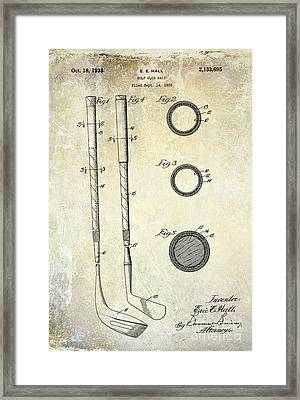 1938 Golf Club Grip Patent Drawing Framed Print by Jon Neidert