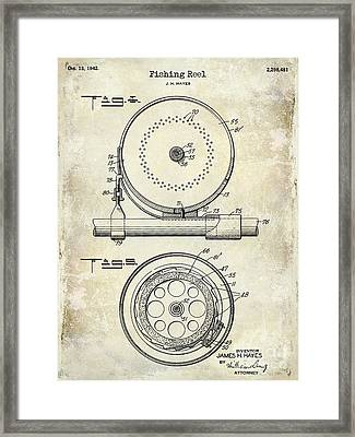 1942 Fishing Reel Patent Drawing  Framed Print by Jon Neidert