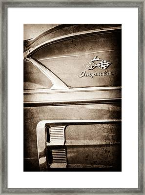 1958 Chevrolet Impala 2 Door Convertible Emblem Framed Print by Jill Reger