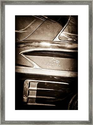 1958 Chevrolet Impala Side Emblem Framed Print by Jill Reger
