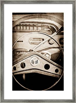 1958 Chevrolet Impala Steering Wheel Emblem Framed Print by Jill Reger