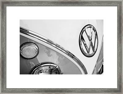 1964 Volkswagen Samba 21 Window Bus Vw Emblem Framed Print by Jill Reger