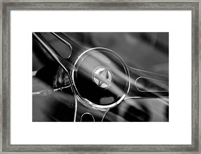 1965 Ford Mustang Cobra Emblem Steering Wheel Framed Print by Jill Reger