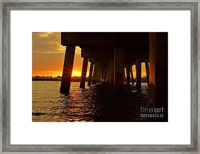2013 First Sunset Under North Bridge Framed Print by Lynda Dawson-Youngclaus