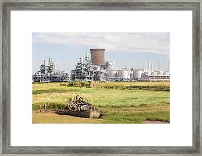 A Bp Chemical Plant At Salt End Framed Print by Ashley Cooper