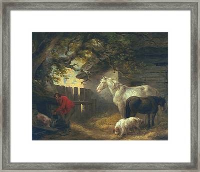 A Farmyard Framed Print by George Morland