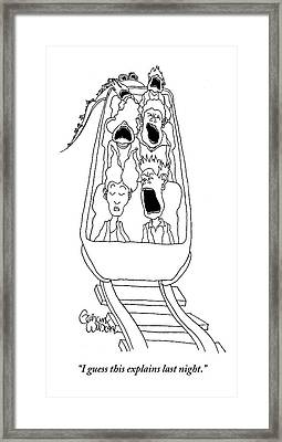A Man In The Front Row Of A Moving Roller Coaster Framed Print by Gahan Wilson
