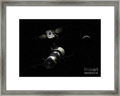 A Manned Orbital Maintenance Platform Framed Print by Walter Myers