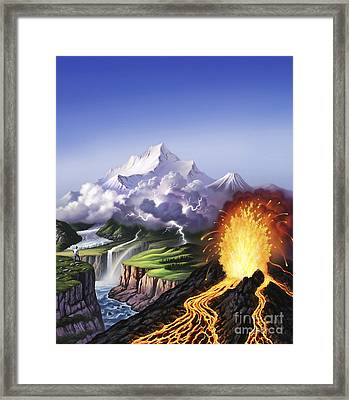 A Montage Of Earths Features Including Framed Print by Jerry LoFaro