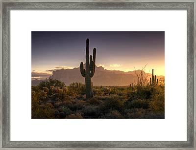 A Superstition Sunrise   Framed Print by Saija  Lehtonen