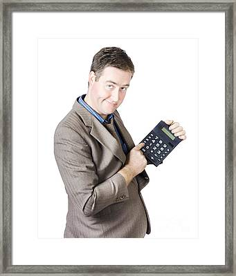 Accounting Business Man Holding Calculator Framed Print by Jorgo Photography - Wall Art Gallery