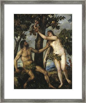 Adam And Eve Framed Print by Titian