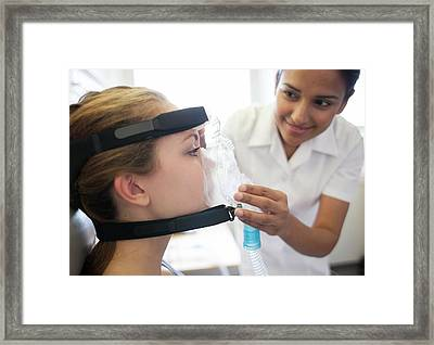 Adjusting Ventilator Mask Framed Print by Science Photo Library