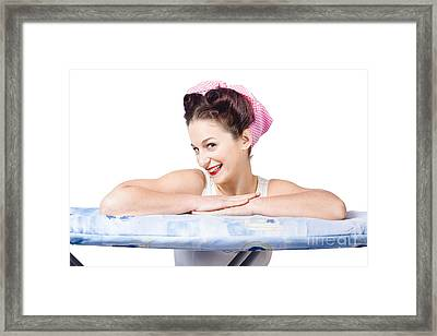 Adorable Sixties Pin Up Lady On Ironing Board Framed Print by Jorgo Photography - Wall Art Gallery