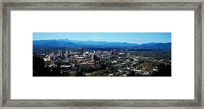 Aerial View Of A City, Asheville Framed Print by Panoramic Images