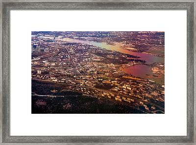 Aerial View Of Riga. Latvia. Rainbow Earth Framed Print by Jenny Rainbow