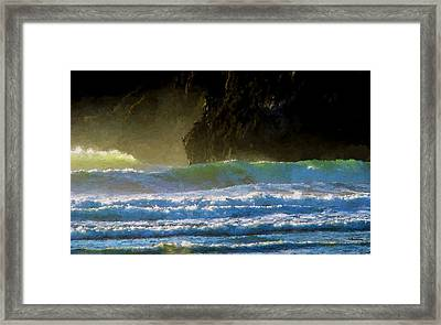 Agate Beach Surf Framed Print by Boyd Miller