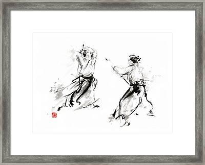 Aikido Enso Circle Martial Arts Sumi-e Original Ink Painting Artwork Framed Print by Mariusz Szmerdt