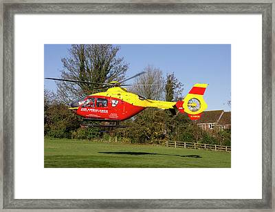Air Ambulance Helicopter Framed Print by Sheila Terry