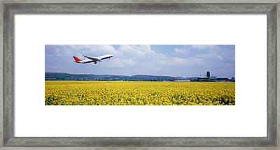 Airplane Taking Off, Zurich Airport Framed Print by Panoramic Images