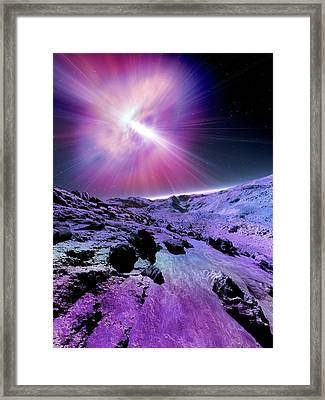 Alien Planet And Pulsar Framed Print by Detlev Van Ravenswaay