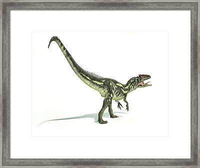 Allosaurus Dinosaur Framed Print by Leonello Calvetti